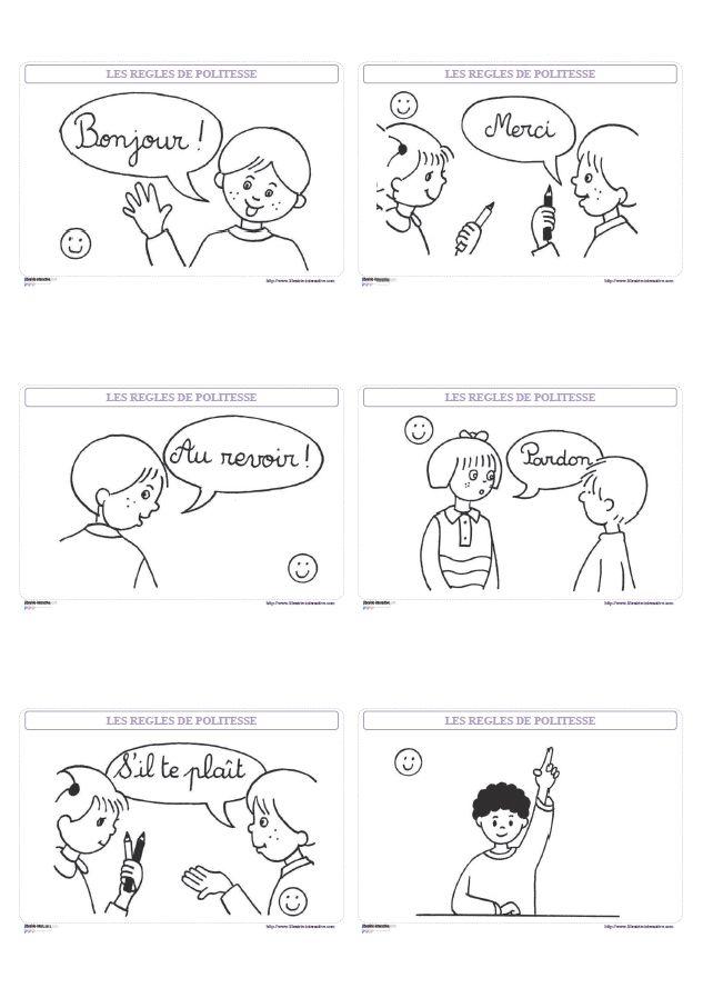 6 affiches simples pour rappeler les principales règles de politesse à suivre à l'école et dans la vie de tous les jours.
