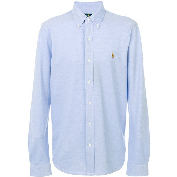 Polo Ralph Lauren embroidered logo shirt ($121) ❤ liked on Polyvore featuring men's fashion, men's clothing, men's shirts, men's casual shirts, blue, polo ralph lauren mens shirts and mens blue shirt