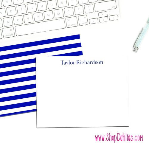 Our navy and white stripe notecards are perfect for your next set of stationery! These are sold in sets of ten! All of our products feature FREE shipping! Our custom stationery is printed on ultra-premium paper and is designed and produced in the United States.