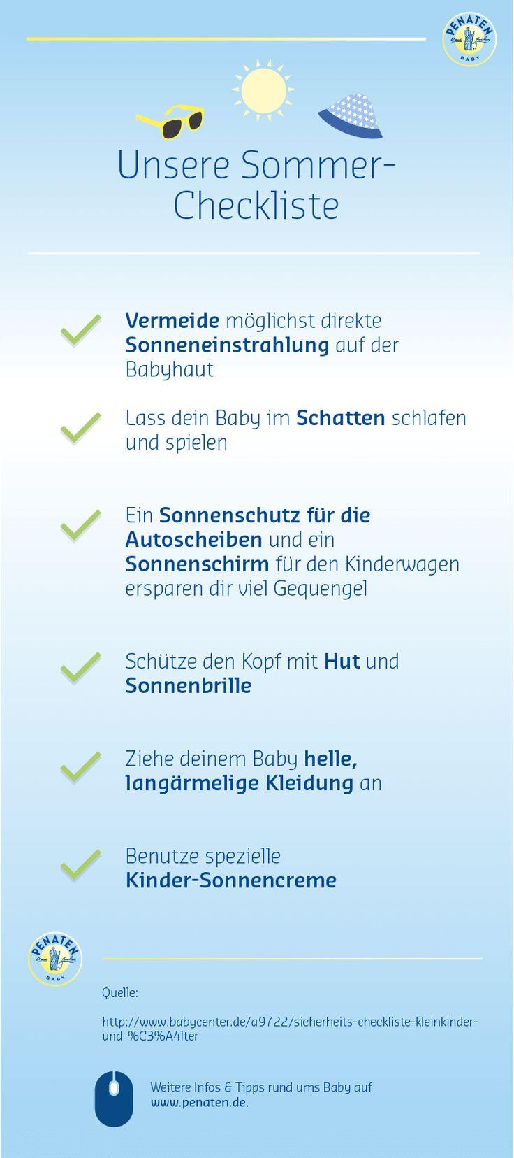 Hier erfährst du, wie du dein Baby vor der Sonne schützt. #Sommer #Sonne #lebenmitbaby #penaten #Babyhaut