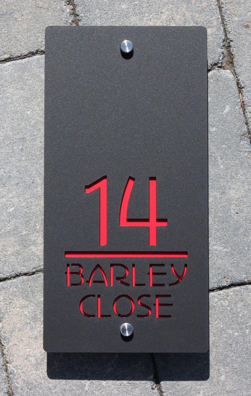 House number door sign large landscape 300 mm x 150mm x6mm original and unique laser cut bespokecustomised with road name laser cut design