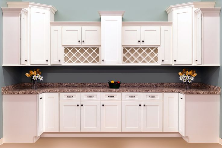 Shaker white cabinets from surplus warehouse 135 linear for Kitchen cabinets warehouse