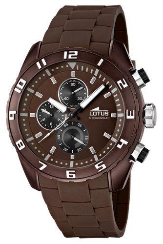 149e Lotus - 15842/3 - Montre Homme - Quartz Chronographe - Chronomètre/Aiguilles Luminescentes - Bracelet Caoutchouc Marron