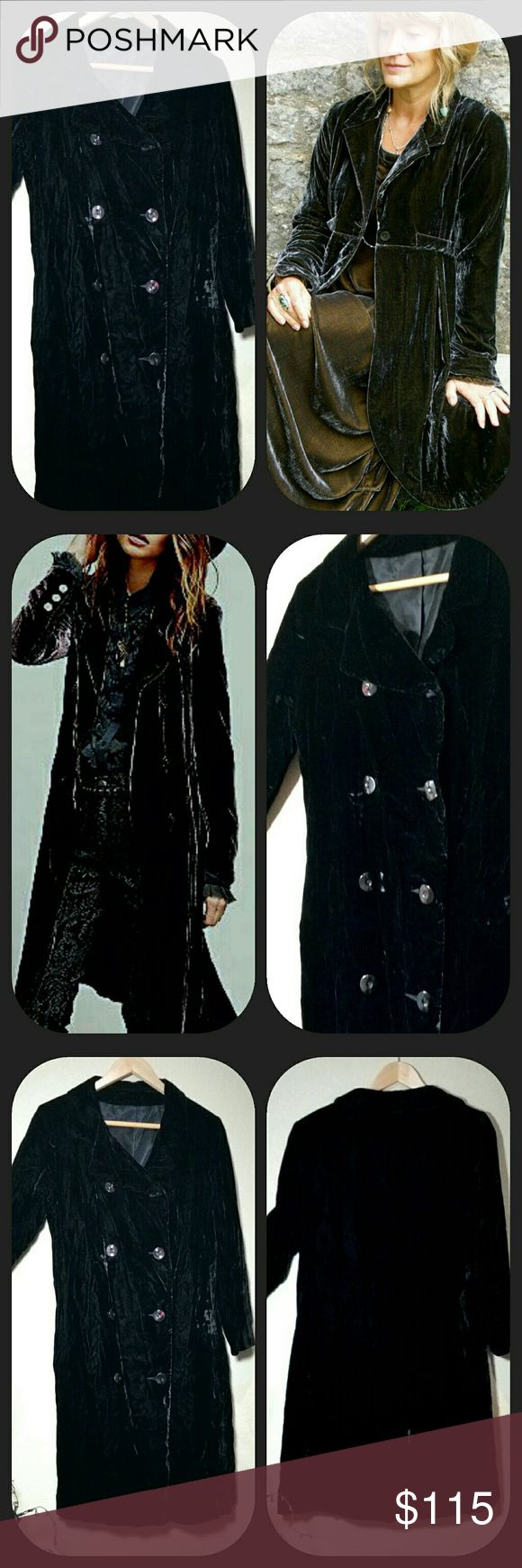 """Black Velvet Duster Victorian Goth Opera Coat Vintage Black Velvet Duster Scoop Coat Opera Coat.  Soft. Lush Silk Rayon Velvet Opera Jacket, double breasted, six buttons. No identification labels.  Beautiful condition... sexy, glamorous. Dress for date night, holiday or dress down with jeans. Best fit S - M Measurements taken flat: Pit to pit 18"""" Waist 18"""" Shoulder to cuff 22"""" Shoulders 17"""" Collar to hem 39"""" Like new condition. Vintage Jackets & Coats"""