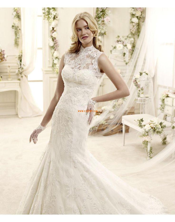 Col montant Brillant & Séduisant Appliques Robes de mariée 2015