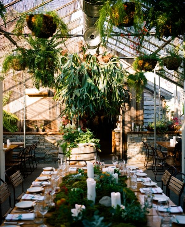 Greenhouse wedding reception.