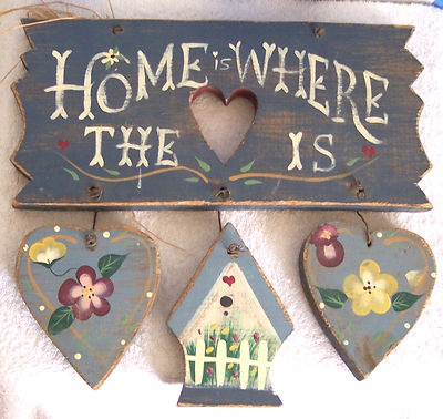 Rustic Hand Painted Primitive Country Decor HOME IS WHERE THE HEART IS Wood Sign