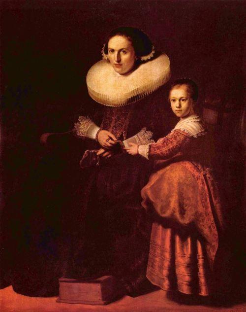 Rembrandt Harmensz. van Rijn.  Porträt der Susanna Pellicorne und ihrer Tochter Eva. 2. Drittel 17. Jh., Öl auf Leinwand, 155 × 123 cm. London, Wallace Collection. Niederlande (Holland). Barock.