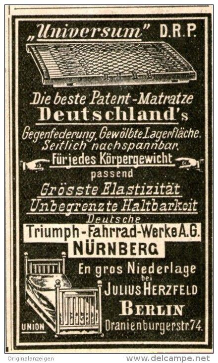 Original-Werbung/Inserat/ Anzeige 1902 - UNIVERSUM MATRATZE / TRIUMPH FAHRRAD-WERKE NÜRNBERG - ca. 45 X 80 mm