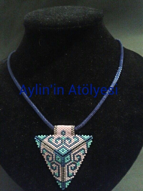 Blue,pink and silver triangle necklace