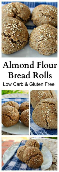 """ALMOND FLOUR BREAD ROLLS - """"This low carb and gluten free almond flour bread roll recipe is one of the best alternative to bread I have ever tasted.   It looks like dough when you are making it, smells like bread, and looks like bread with air pockets BUT…*drum roll*…is gluten free, grain free, low carb and just fabulous!"""""""