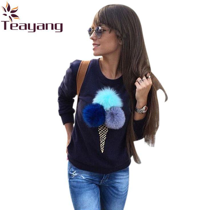 Women Autumn Winter Icecream Fur Balls Sweatshirt Colorful Plush Ball Longsleeve O-neck Tracksuit Truien Dames Hoodies
