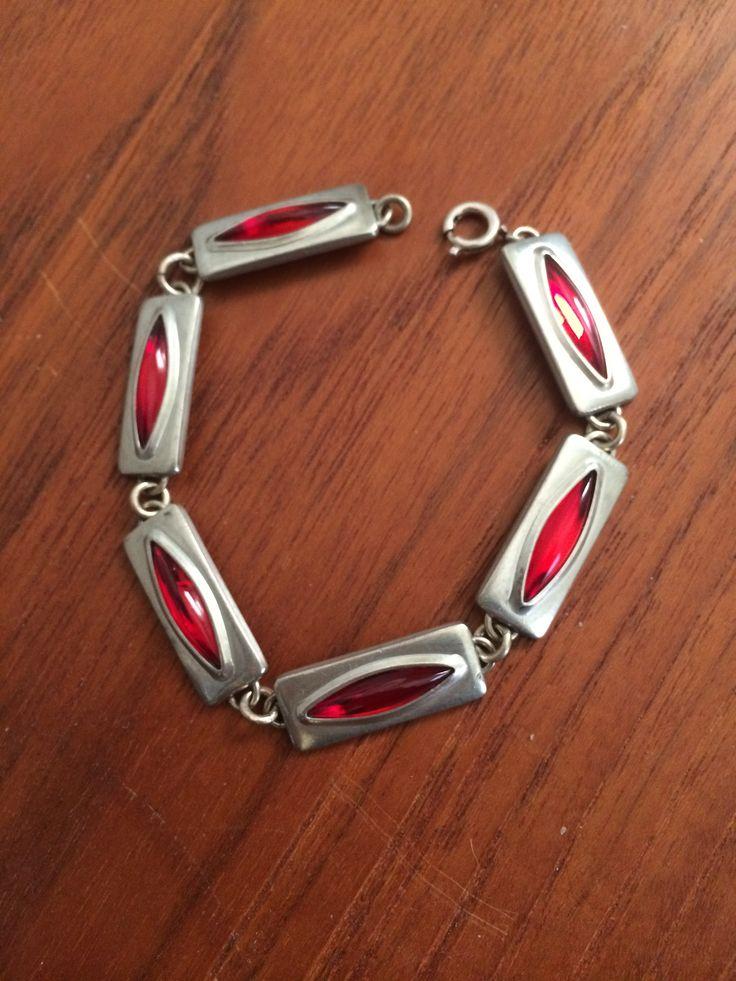 Pewter & Red Lucite Bracelet Jorgen Jensen Denmark