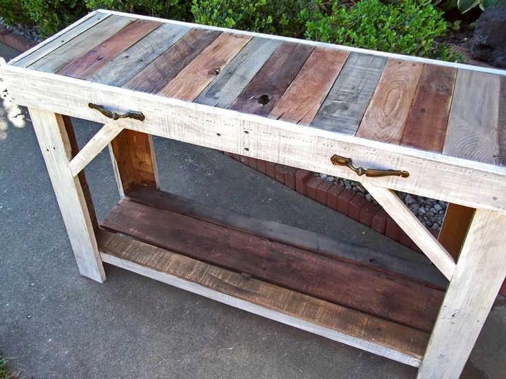 Custom Made Rustic Reclaimed Pallet Entry Table