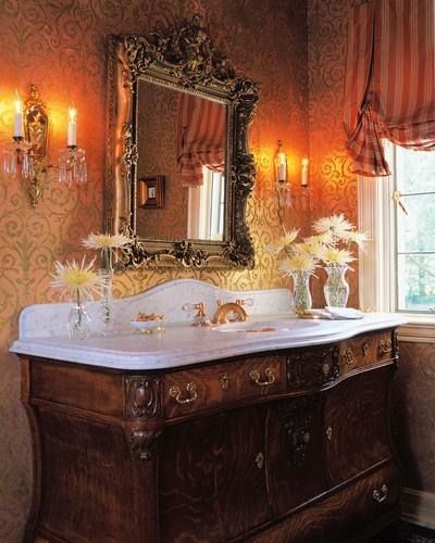 Dressy Powder Room, Tudor style mansion, Chicago