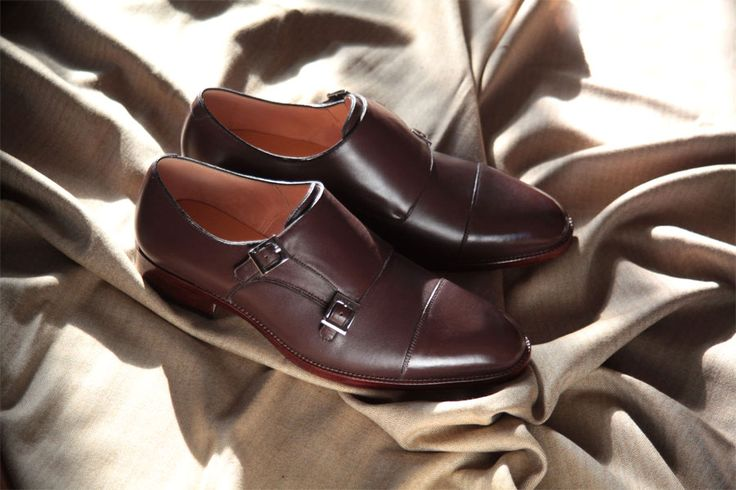 latte color double monk style bespoke shoes by BEN KOO