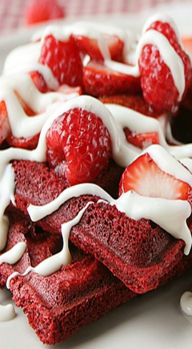 Red Velvet Waffles with Cream Cheese Icing Drizzle
