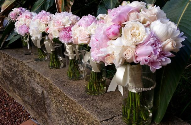 Group of bridal bouquet, cream and pink peonies & David Austin roses. #sunpetalsflorist