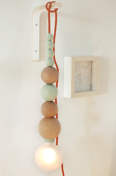 Lamp made of wood / Handmade by minjonshop on Etsy, wood beads balls pastels colors
