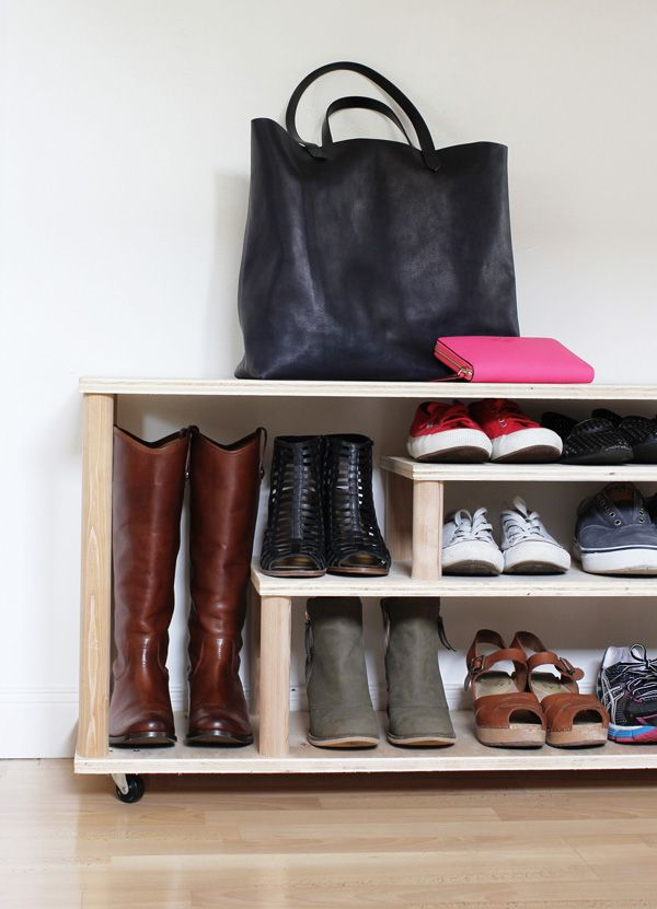 This DIY Shoe Rack would be great for your entryway or mudroom. It's also a bench on casters so you can sit when you take your shoes off or put them on. It's a great tutorial by Aileen Allen of At Home in Love. Click through to see it on The Home Depot Blog. || @aileenallen