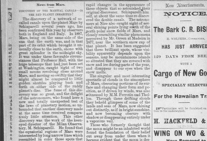 1887 News From Mars. Discovery of the Martial Canals is the red planet inhabited? The Hawaiian gazette. (Honolulu [Oahu, Hawaii]) 1865-1918, March 29, 1887, Page 6, Image 6
