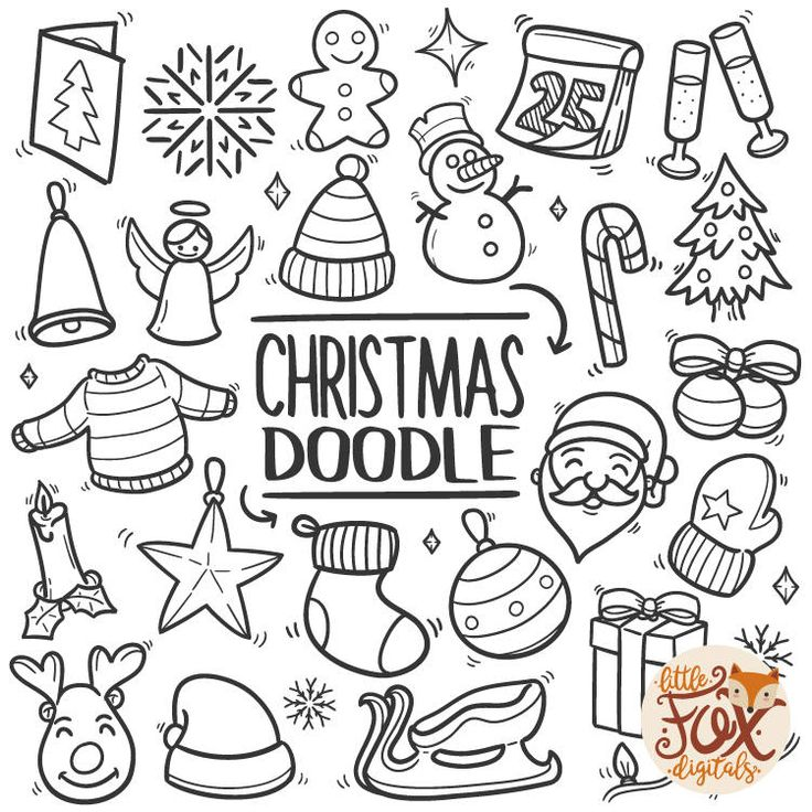 MERRY CHRISTMAS, doodle icons. Winter Holidays Concept Art