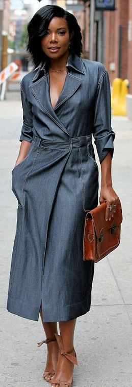 Who made Gabrielle Union's denim dress and tan tie sandals?