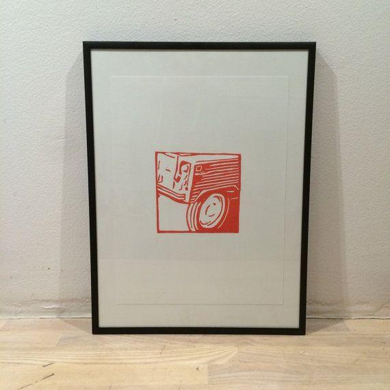 Linocut print Citroen Mehari in orange by LinocutCars on Etsy