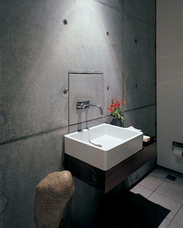wandfarbe badezimmer betonoptik wandgestaltung tapete waschbecken - Badgestaltung Mit Tapete