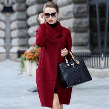 SoftFox Merk Ontwerp Winterjas Vrouwen Warm Katoen gevoerde Wollen Jas Lange vrouwen Kasjmier Jas Europese Mode Jas uitloper(China)