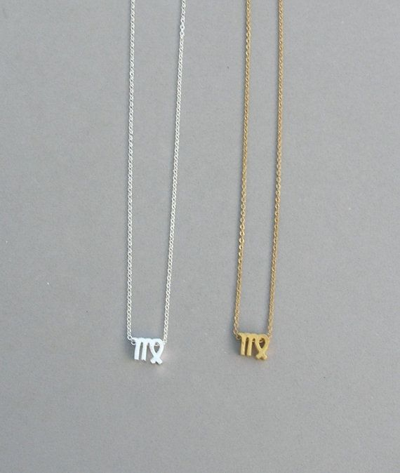 Zodiac Virgo Necklace in Silver Plated or Raw Brass