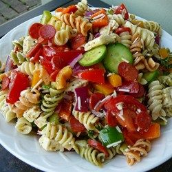 This colorful pasta salad is packed with vegetables, pepperoni, and cheese. Toss with the simple dressing mixture, chill, and enjoy!