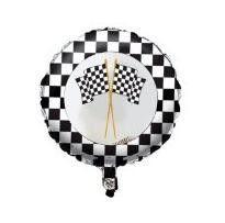 Helium Filled Checkered Flag Foil Balloon