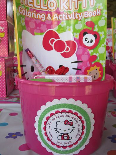 party favors....plain bucket embellished with personalized hello kitty....and the dollar store usually has good coloring books....could be cheaper than it looks