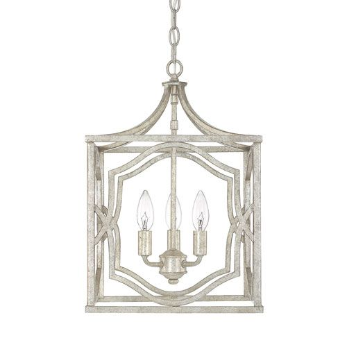 251 First Linden Antique Silver Three Light Lantern Pendant