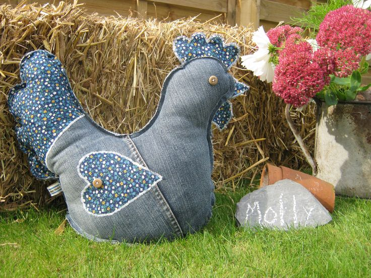 Created from up-cycled denim and other pre-loved fabrics. Check out my Facebook page for chickens needing re-homing. https://www.facebook.com/theshabbychickenshed