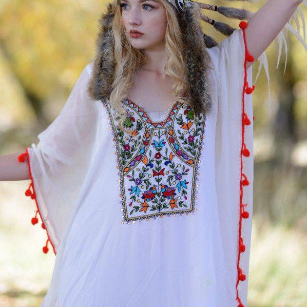 Women's long Kaftan Dress Boho Beach Crystals Designer wear #BaublesNBloom #batwingdresslongdressbeachdressbohodressswimcoverupcaftanembellisheddresscocktaildressweddingdressbridesmaiddressembroidereddresssheerdresssequindressAbayaKaftanMaxiDress