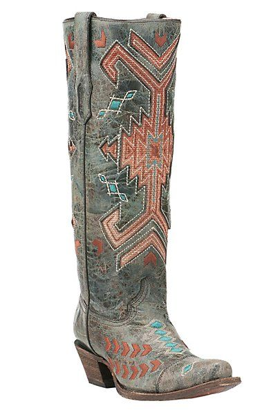 Corral Women | Grey with Orange and Turquoise Western Snip Toe Boots