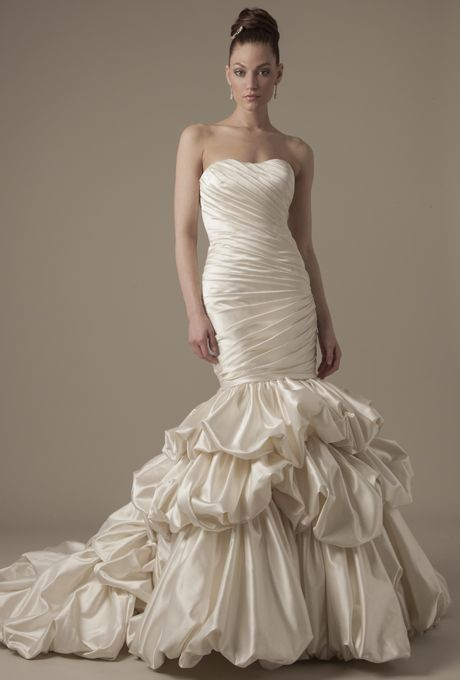 dennis basso wedding gowns | dennis basso 2014 ivory strapless ruched mermaid wedding dress with