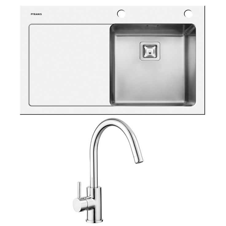 Pyramis Crystalon 1.0 Bowl White Glass Kitchen Sink, Waste & Tap LHD - Pyramis from TAPS UK
