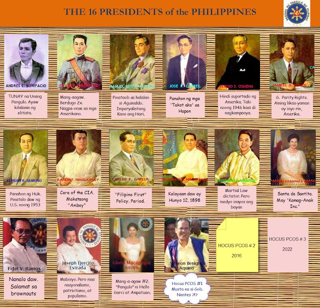 SOBRIETY FOR THE PHILIPPINES: The 16 Presidents of the Philippines --a historical satire