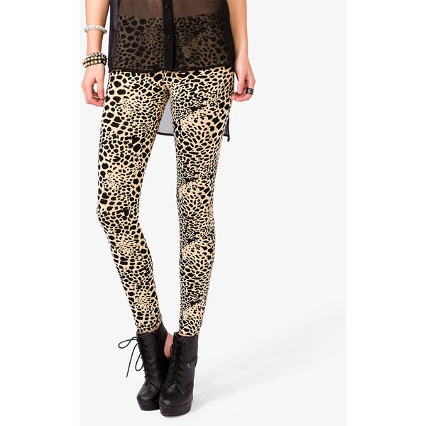 FOREVER 21 Cheetah Print Leggings (12 AUD) ❤ liked on Polyvore featuring pants, leggings, cheetah leggings, elastic waist pants, legging pants, light weight pants and lightweight pants