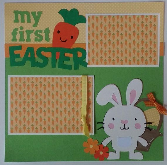 Easter scrapbook layout - Premade scrapbook page Easter - Baby scrapbook page…