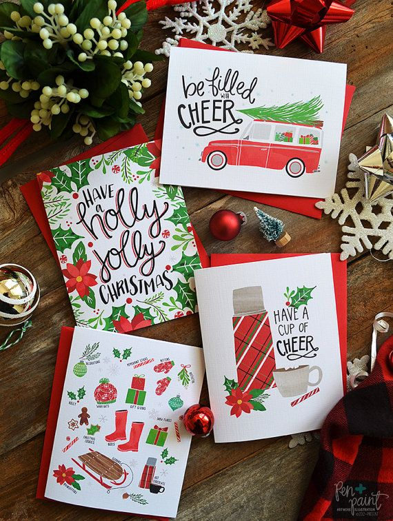 Be filled with cheer! Send happy mail with these holiday note cards. This listing is for a set of four blank folded cards and four matching envelopes (choose envelope color red or kraft brown). Set includes one Have a holly jolly Christmas, one Be filled with cheer, one Have a cup of cheer, and one Christmas faves card.  Original Artwork by Lindsay Freitas Hopkins ©2012-present Pen & Paint - All rights reserved. The purchase of artwork or paper goods does not transfer reproduction rights. Be…