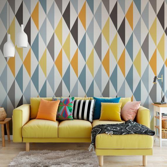 Scandinavian Wallpaper Yellow Removable Wallpaper Etsy Scandinavian Wallpaper Removable Wallpaper Textured Walls