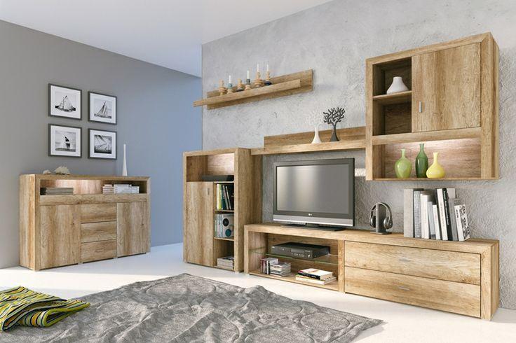"""Pro milovníky přírodních odstínů nábytku. Originální obývací stěna v přírodním provedení """"dub country"""" je jarní novinkou v naší nabídce. Obývací stěna poskytuje dostatek prostoru pro širokoúhlou televizi a další AV vybavení. Celkový vzhled můžete oživit LED osvětlením, které si můžete objednat samostatně jako doplněk. Máte-li dostatek místa v obývacím pokoji, doporučujeme Vám k obývací stěně komodu se závkami DORRIS ve stejném designu."""