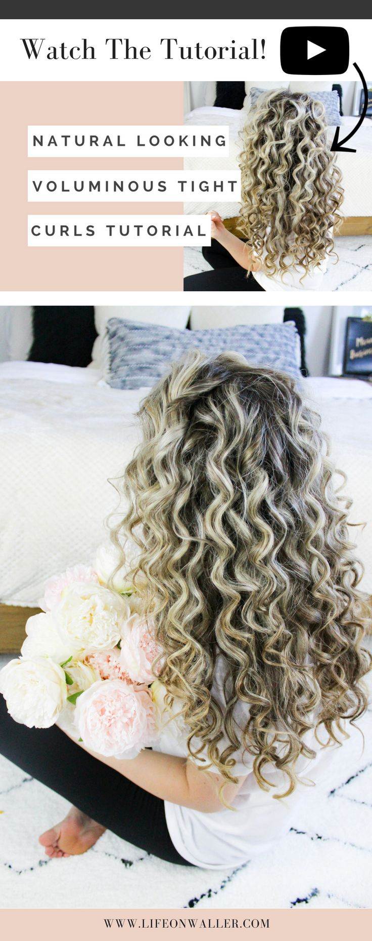natural looking voluminous tight curls hair tutorial. Perfect texture and bounce to your curls!