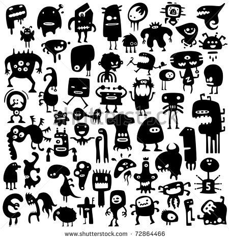 stock vector : Big collection of cartoon funny monsters silhouettes ... for the window