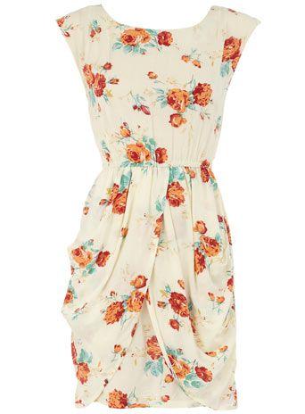 Floral print cotton dress...very vintage feel!: Orange Floral, Floral Prints, Summer Dress, Style, Cotton Dresses, Nude Heels, Floral Dresses, Floral Pattern