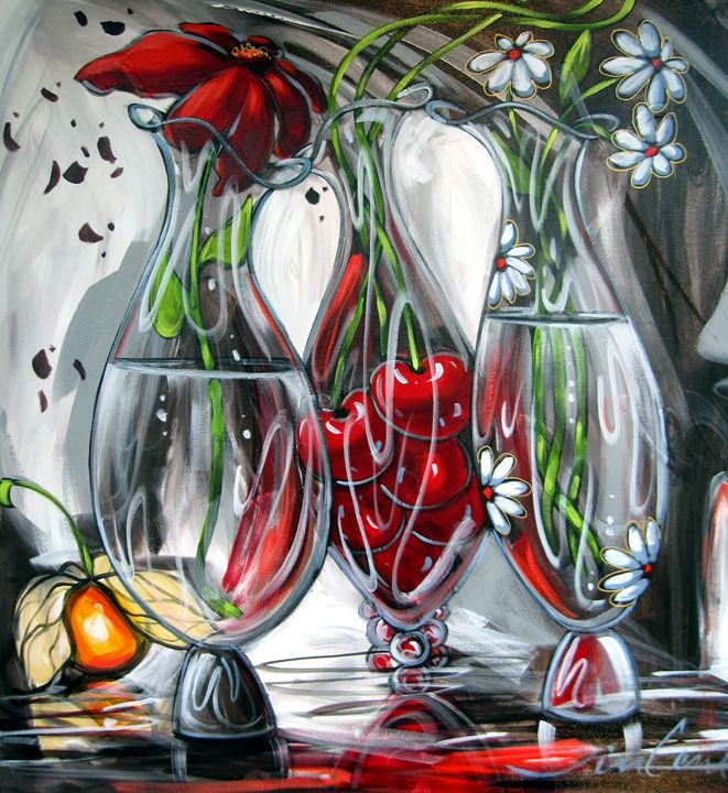 Daniel Vincent - cherries in a vase watercolor art painting